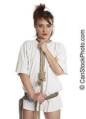 Lashing - Girl with lashing on white isolated background