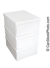 Stack of white boxes isolated