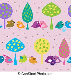 Seamless pattern with forest enamored birds on the background of trees