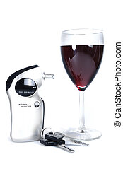 Alcohol Detector  - Alcohol detector with wine and car keys.