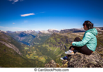 Geiranger fjord, Norway. Tourism vacation and traveling. -...