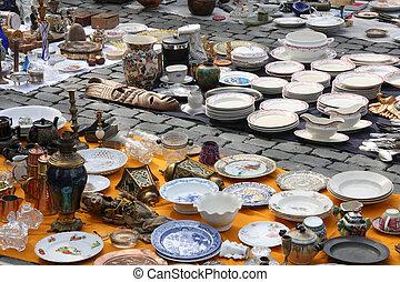 Flea Market (La Vieux Marche) in Brussels, Belgium. Famous...