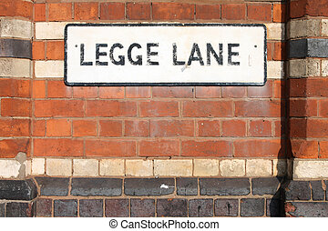 Birmingham - Legge Lane sign West Midlands, England