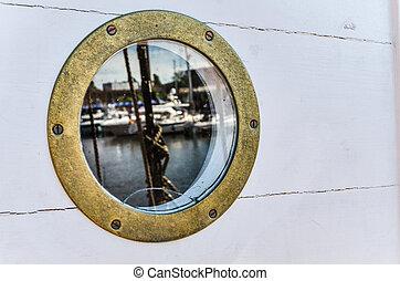 nautical porthole, close-up