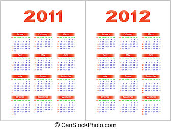 Calendar 2011,2012 - Calendar for 2011,2012Red letters and...