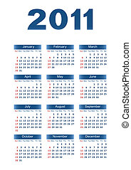 Calendar 2011 - Calendar for 2011 Dark blue letters and...