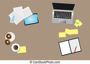 Top view of office desk with office supplies, coffee cup and...