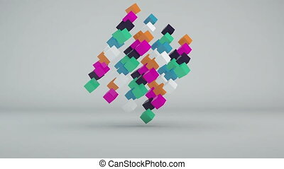 Abstract background with colorful cubes. Seamless loop
