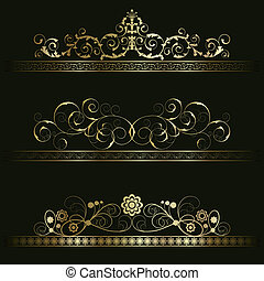 Set from retro frames - Set from gold retro frames on the...