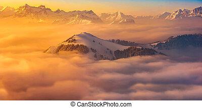 Snowy peak sunset