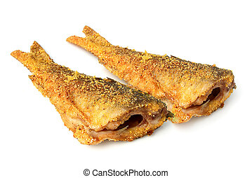 Two fried fish isolated. - Two fried fish in tempura...