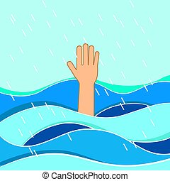 Drowning victims. Hand of drowning man needing help. Failure and rescue concept.
