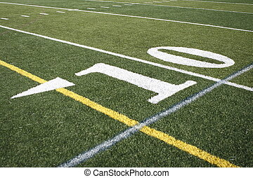 Yardline on football field.