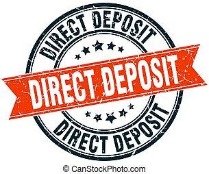direct deposit round grunge ribbon stamp