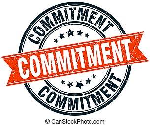 commitment round grunge ribbon stamp