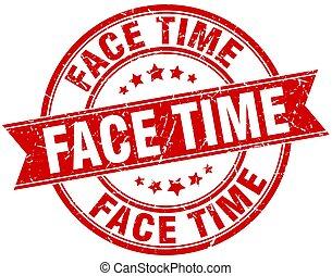 face time round grunge ribbon stamp