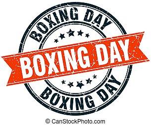 boxing day round grunge ribbon stamp