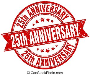 25th anniversary round grunge ribbon stamp