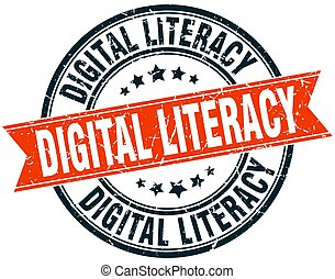 digital literacy round grunge ribbon stamp