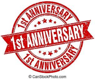 1st anniversary round grunge ribbon stamp