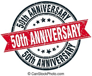 50th anniversary round grunge ribbon stamp