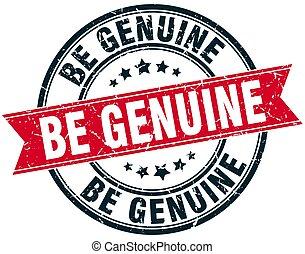 be genuine round grunge ribbon stamp