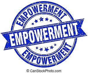empowerment round grunge ribbon stamp