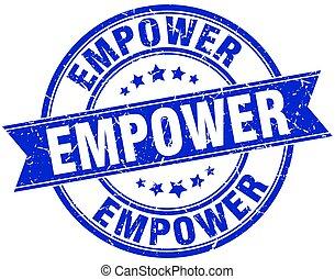 empower round grunge ribbon stamp