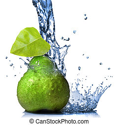 green pear with leaf and water splash isolated on white
