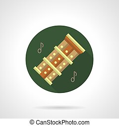 Bamboo flutes flat round vector icon - Symbol of triple...