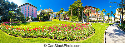 Opatija park and architecture panoramic view, Kvarner bay,...