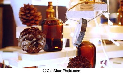 Decorative glass bottles of essential oil for aromatherapy...