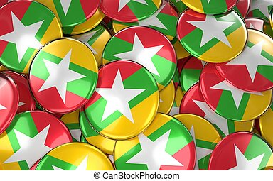 Myanmar Badges Background - Pile of burmese Flag Buttons. 3D...