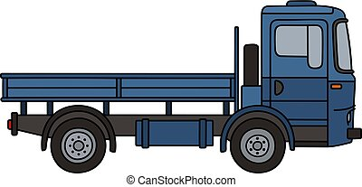 Classic blue truck - Hand drawing of a classic blue flatbed...