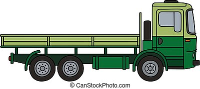 Light and dark green truck - Hand drawing of an old light...