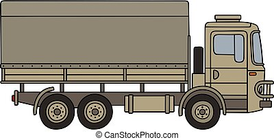Sand military truck - Hand drawing of a classic sand...
