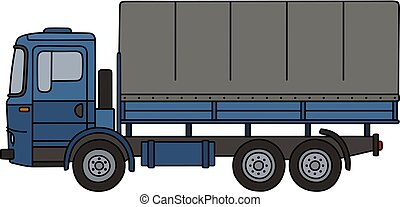Old blue truck - Hand drawing of a blue truck