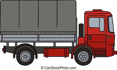 Red covered truck - Hand drawing of o red delivery covered...