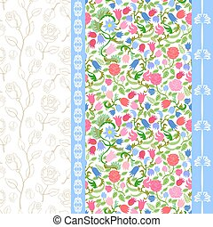 Art Nouveau seamless pattern with fulips and roses. - Rich...