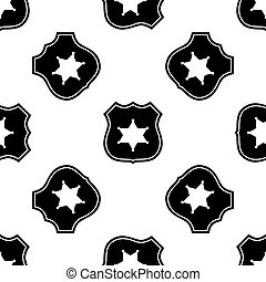 Police badge icon seamless pattern on white background....