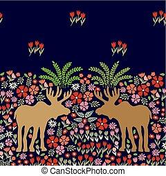 Fantasy night park - Art Nouveau border with elks, bushes...
