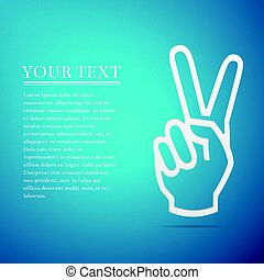 Victory hand sign icon. Hand showing two finger flat icon on blue background. Vector Illustration
