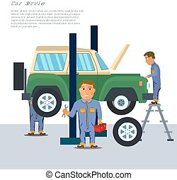 Auto mechanic in repair service center with car and working tools flat design. Vector