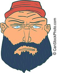 Cartoon Brutal Man Face with Beard and Red Hat. Vector...