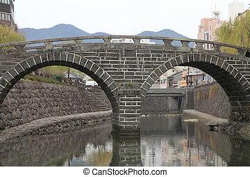 Spectacles bridge in Nagasaki, Japan