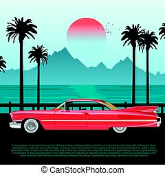 Red retro car on road near blue sea or ocean with palm trees and mountains