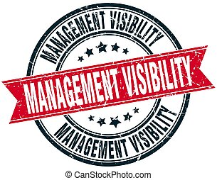 management visibility round grunge ribbon stamp