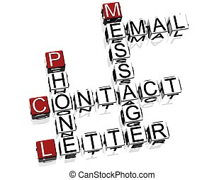 3d Contact Crossword text on white background