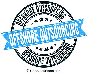 offshore outsourcing round grunge ribbon stamp