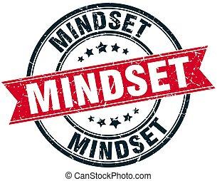 mindset round grunge ribbon stamp